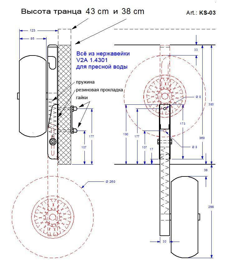 Чертеж и размеры транцевых колес